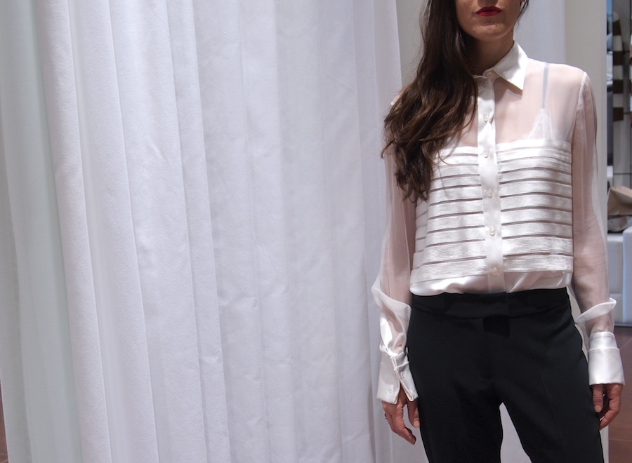 Alberta Ferretti white silk shirt