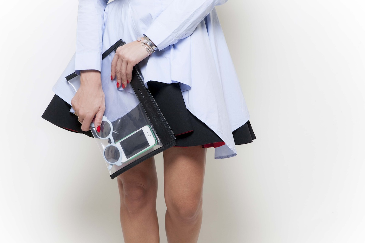 ysmf.hm.black.red.scuba.skirt.jil.sander.pvc.clutch