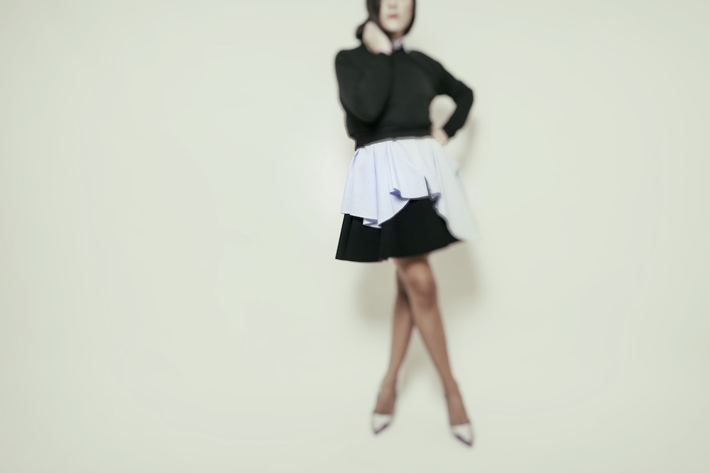 ysmf.hm.black.red.scuba.skirt.peplum.shirt