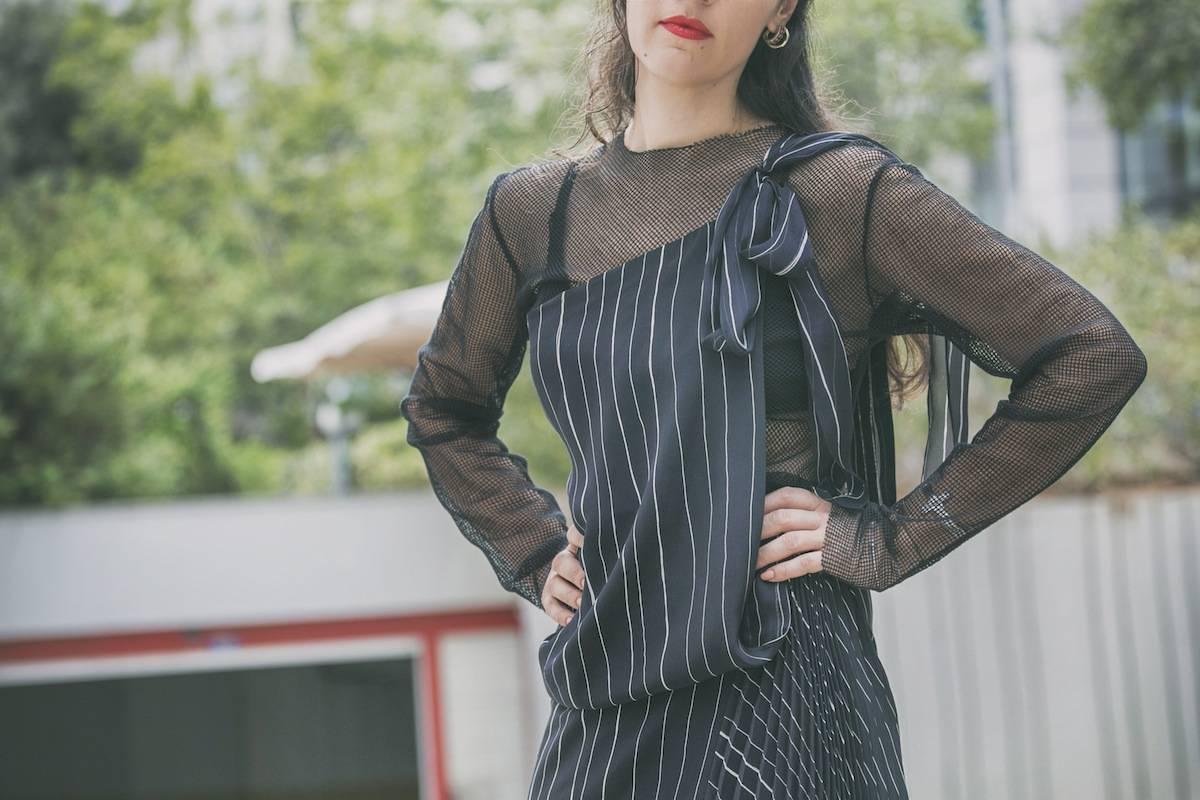 ysmf.deuxhommes.mesh.pleated.dress