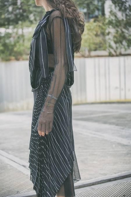 ysmf.deuxhommes.striped.pleated.dress