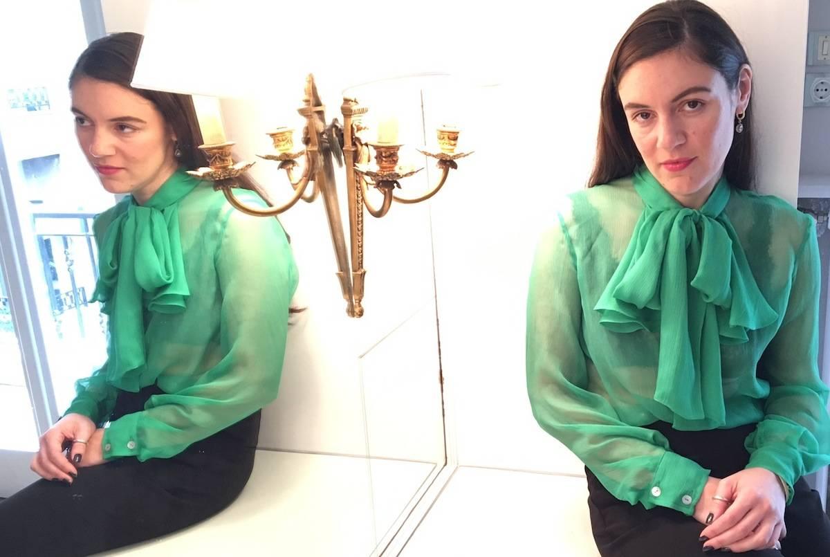 ysmf.evi.grintela.green.sheer.shirt
