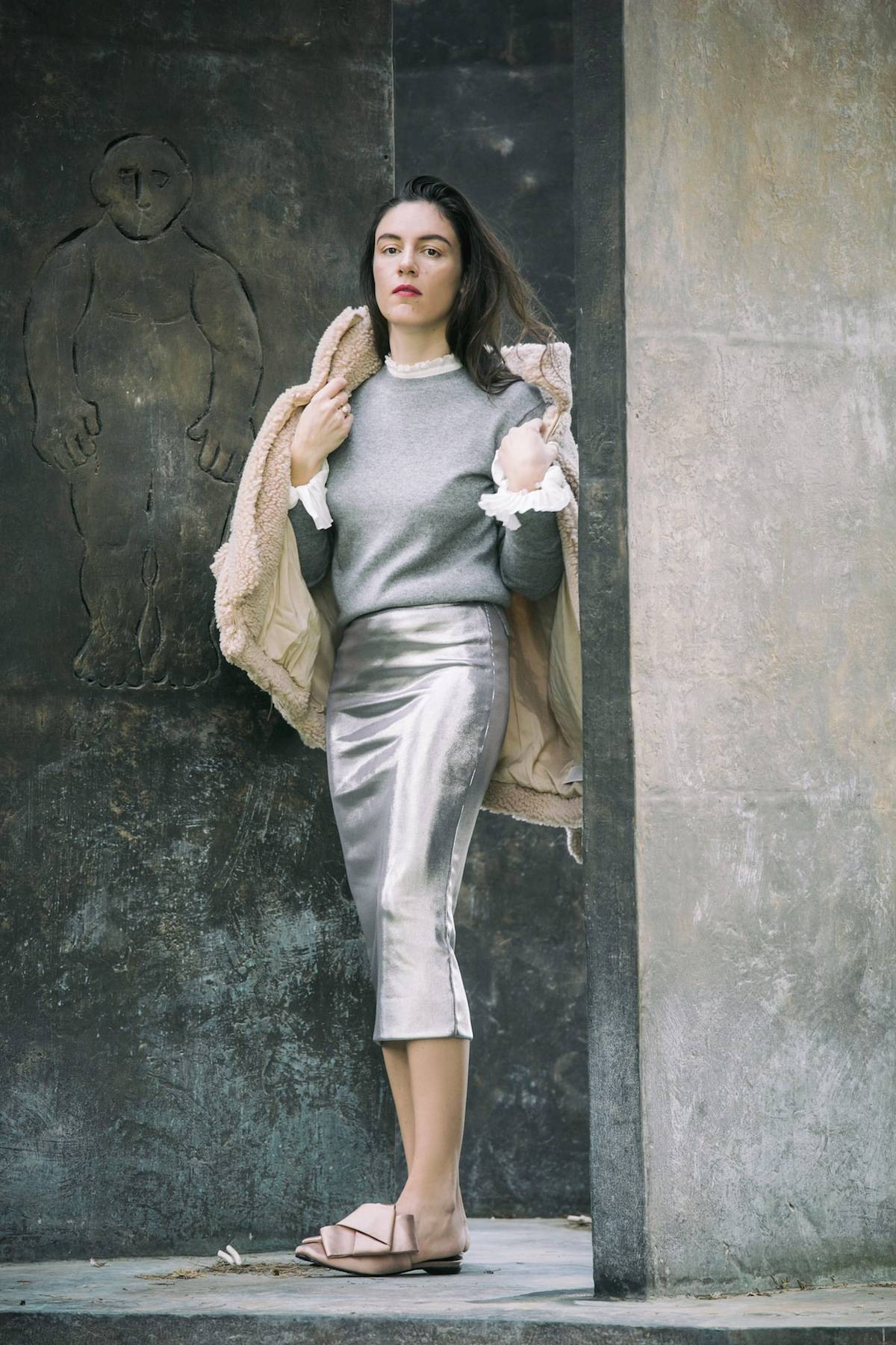 ysmf.hm.cashmere.knit.silver.pencil.skirt