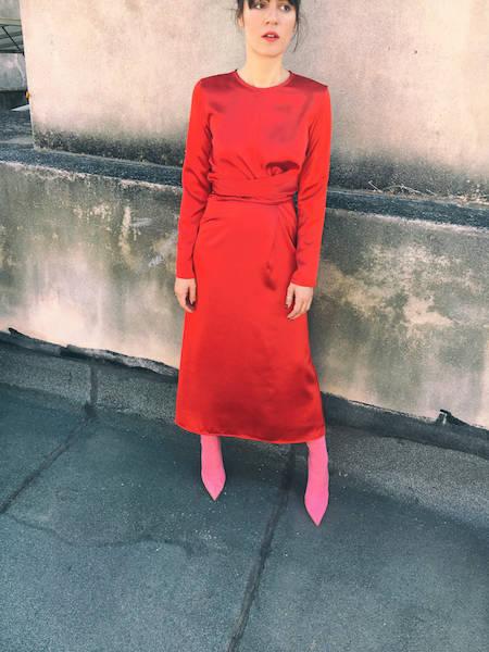ysmf.milkwhite.red.satin.dress
