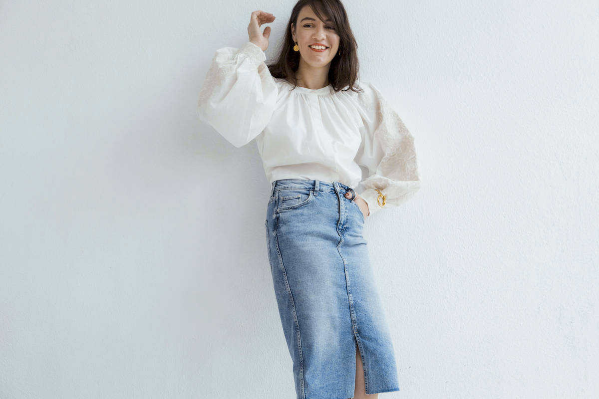 ysmf.hm.blouse.denim.skirt