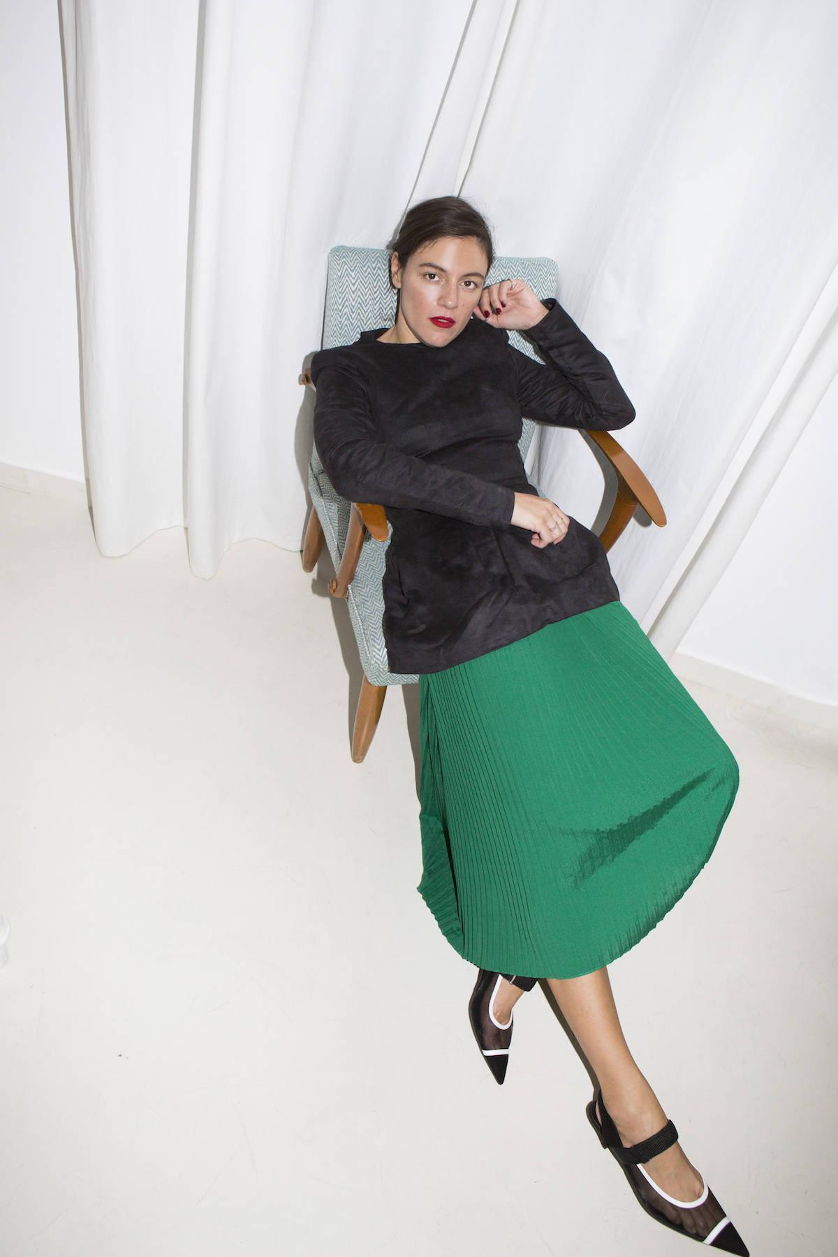the.v.society.pleated.dress.green
