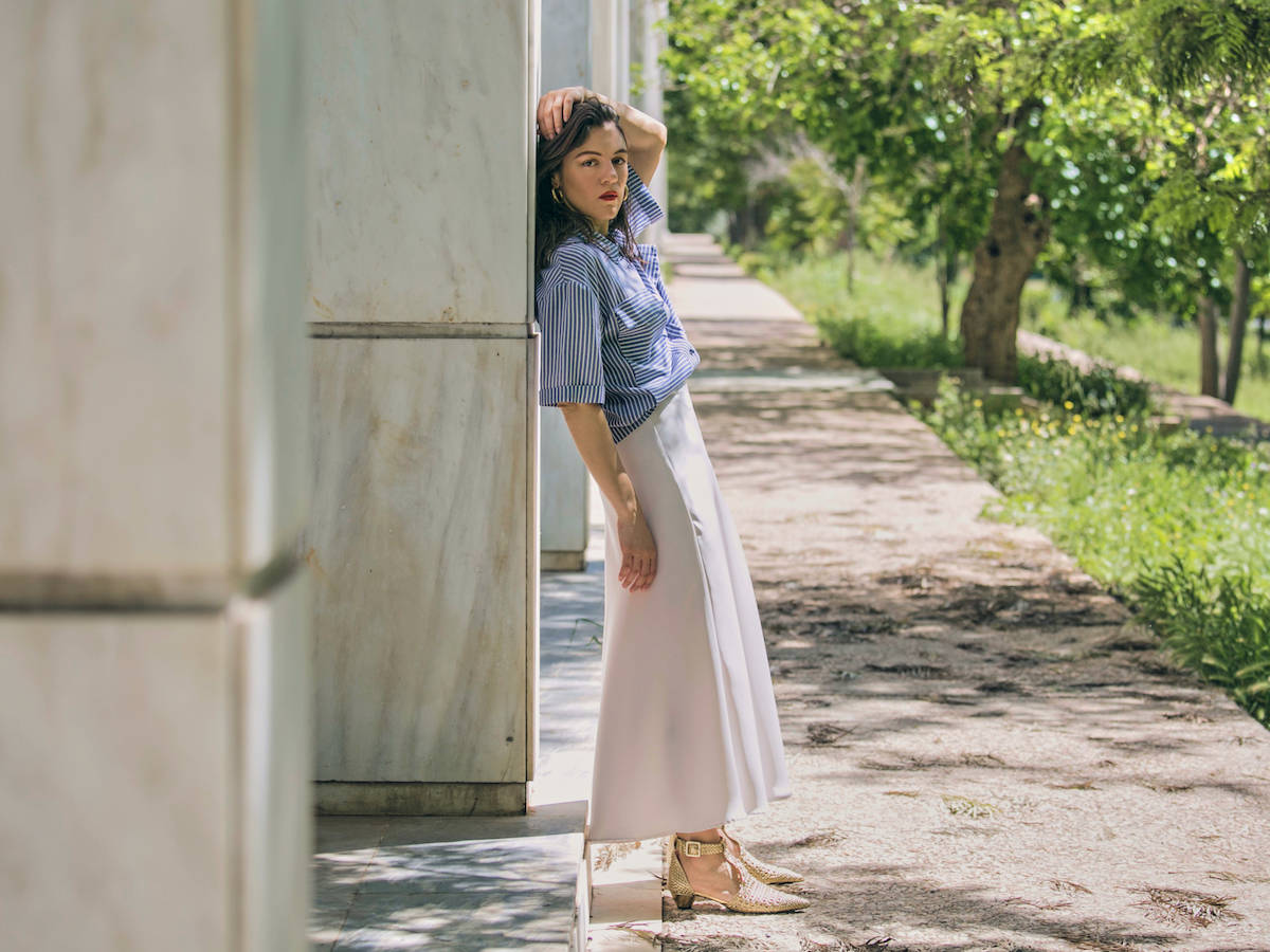 ysmf.milkwhite.satin.skirt