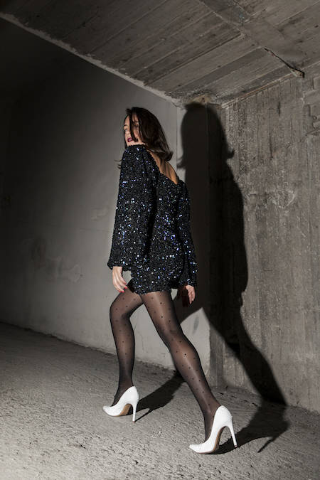 ysmf.milkwhite.multicolor.sequin.mini.dress